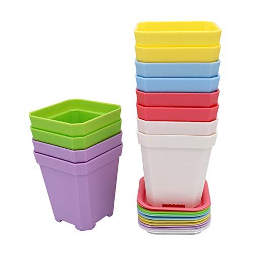 KINGLAKE 12 Pezzi da 7 cm Piccoli vasi da Fiori Quadrati vasi da Fiori in plastica con Pallet/vassoi, 6 Colori, Spessi