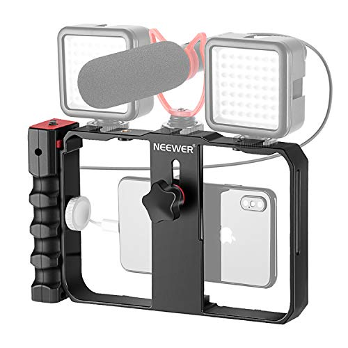 Neewer Plastic U Rig Smartphone Video Rig, Filmmaking Cage, Phone Video Stabilizer Grip Tripod Mount for Videomaker Film-Maker Video-grapher for iPhone X Xs XS Max XR X HUAWEI Samsung