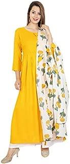 Women's Rayon A-Line Printed Kurti Dupatta Set
