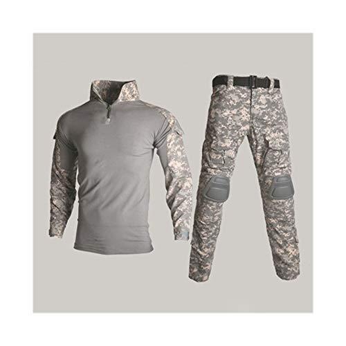 YZRDY Táctica de Camuflaje Militar Ropa de Uniforme Juego de los Hombres Ropa del ejército de Airsoft Camisa Militar Combate de Carga + Pad Pantalones de la Rodilla Combat (Color : ACU, Size : 3XL.)