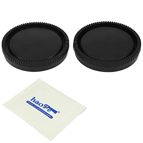 Haoge Camera Body Cap and Rear Lens Cap Cover Kit for Sony E NEX Mount Camera Lens Such as a5100 a6000 a6100 a6400 a6500 a6600 A7 A7R A7S A7II A7RII A7SII A7III A7RIII A7RIV A9 A9II FS5 FS7 VG30