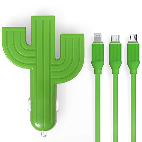 Cactus USB Phone Charger | Comes with 3-in-1 USB Cable | Cell Phone Car Charger | Fits All Phone Models