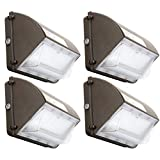 4Pack 60W LED Wall Pack Light with Dusk-to-Dawn Photocell, 7200LM IP65 Waterproof Outdoor Commercial LED Lighting Fixture, 120V 5000K Daylight, 200-300W HPS/MH Replacement, 50000 Hours Lifespan