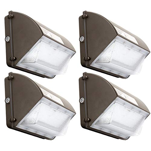 4Pack 60W LED Wall Pack Light, 12000LM Dusk to Dawn Light, Daylight 5000K with Photocell, IP65 Waterproof Outdoor Commercial LED Security Light, 600-800W HPS/MH Replacement, 120V (60W 4PK)
