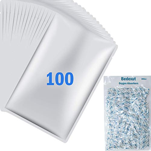 """Bedexut 100 Pack 1 Gallon Mylar Bags (4.5 Mil, 10x16"""") with 300cc Oxygen Absorbers for Long Term Food Storage, Aluminum Foil Flat Heat Sealing Bags with Rounded Corners,Keep Fresh Vacuum Sealer Pouch"""