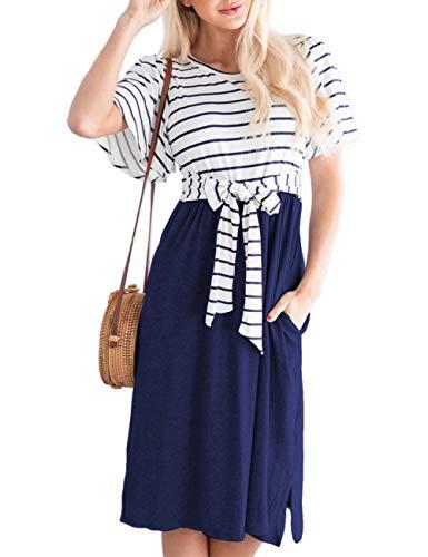 MEROKEETY Women's Summer Striped Ruffle Sleeves Tie Waist Pockets Casual Swing Midi Dress Navy