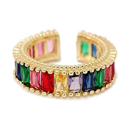 Anillo de eternidad apilable con circonita cúbica y diseño cuadrado de arcoíris para mujer, anillo de compromiso, anillo de boda, chapado en oro de 18 quilates, tamaño ajustable