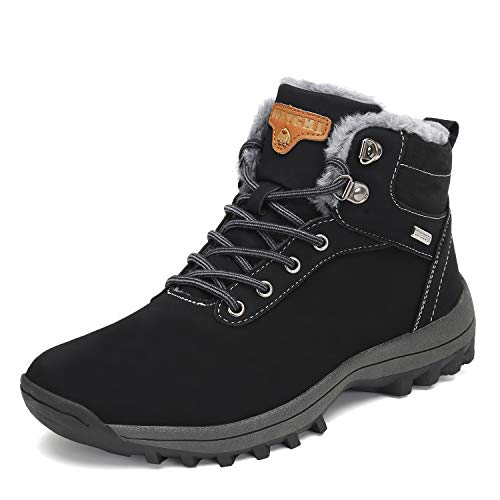 SAGUARO Mens Women Fur Lined Snow Boots Waterproof Leather Winter Booties Cold Weather Outdoor Hiking Work Shoes, 11 Women/9.5 Men
