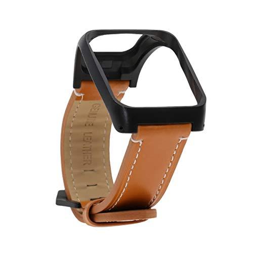 NICERIO Armband Kompatibel mit Tomtom Runner 3/Runner 2/Adventurer - Leder Ersatzarmband Verstellbares Armband Uhrenarmband Lederarmband mit Gehäuseschutz Smart Watch Zubehör Uhrenbänder (Braun)