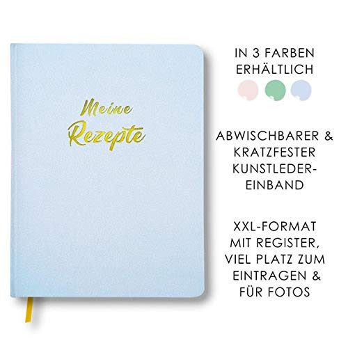 Meine Rezepte himmelblau: Großes Rezeptbuch zum Selberschreiben in blau im Leder-Look mit Register und Platz für Fotos, liniert