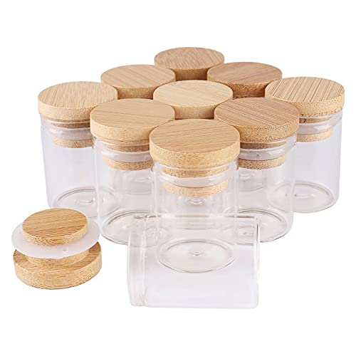 FEIHAIYANY Frascos de Almacenamiento de Alimentos, 4/8 Piezas 15 ml 30 * 40 mm Tubos de ensayo con Tapones de bambú Frascos de Vidrio Frascos de Vidrio Deseando Bolttes Wish Bottle for Wedding Crafts