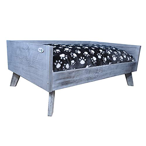 Iconic Pet Sassy Paws Raised Wooden Pet Bed