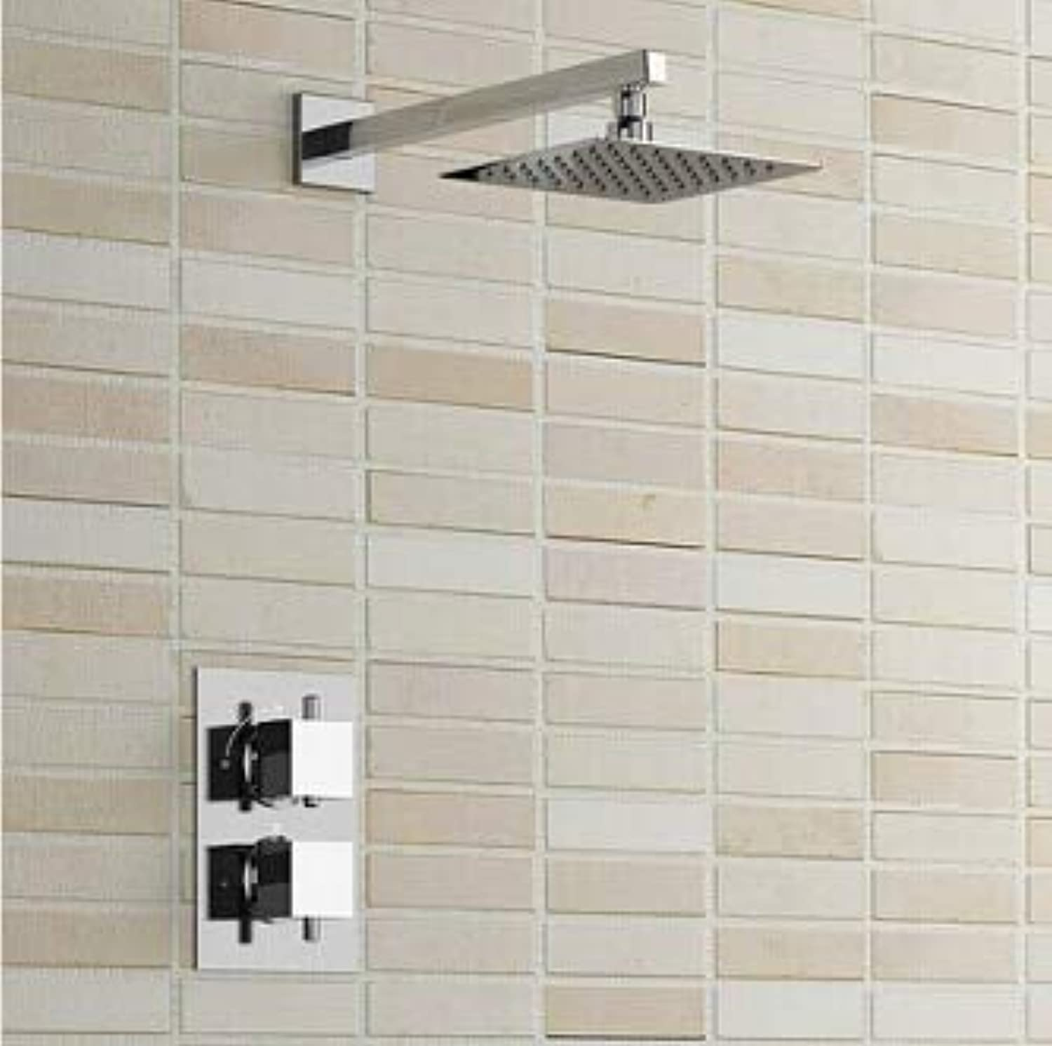 8  Ultra Thin Square Thermostatic Shower Set 1-Way Bathroom Concealed Install Shower Set Wall Mounted,Weiß