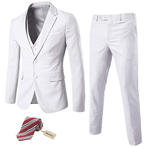Stoota Men's 3-Piece Suit Blazer Dress, Slim Fit Suit One Button Business Wedding Party Jacket Vest & Pants 2020 S-3XL Black