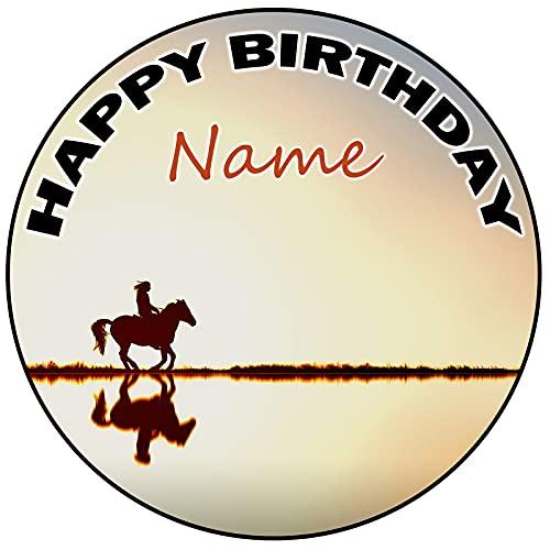 AK Giftshop Decoración para tarta de cumpleaños con diseño de caballo, redondo, 20 cm, cualquier edad y nombre