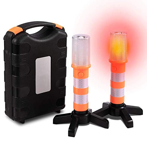 LED Warnleuchte Warnblitzer Orange mit Magnetisch Basis, Wasserdicht Warnblinkleuchte Pannenhilfe Warnlicht Warnsignal mit 3 Modus