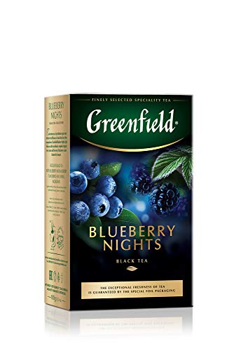 GREENFIELD BLUEBERRY NIGHTS | Schwarztee, aromatisiert – Blaubeere und Brombeere | Blatt Tee, loser Tee 100g | Ceylon-Tee mit Hibiskus, Malvenblättern, Blaubeeren, schwarzen Johannisbeerenblättern