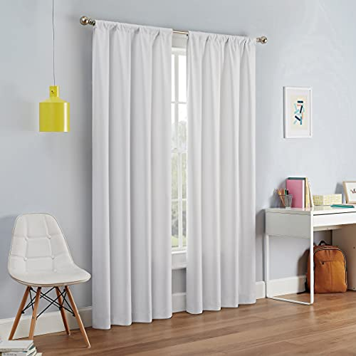 """ECLIPSE Kendall Thermal Insulated Single Panel Rod Pocket Darkening Curtains for Living Room, 42"""" x 54"""", White"""