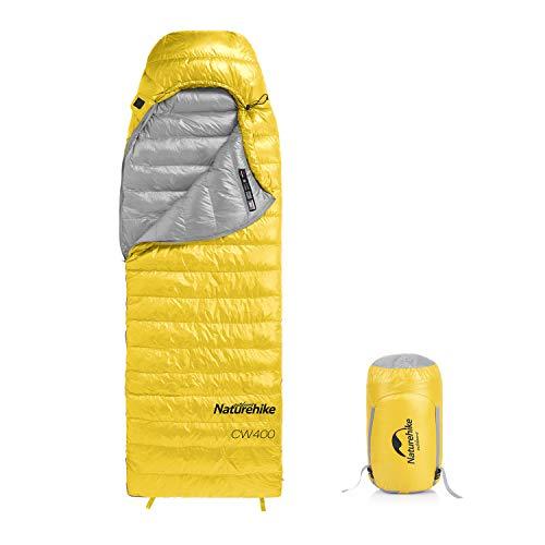 Naturehike - Saco de dormir ultraligero de plumón de ganso para clima frío 750, capacidad de relleno para 4 estaciones, impermeable, compacto para adultos y niños, para camping, mochilero, senderismo, viajes, al aire libre, con bolsa de compresión, color amarillo