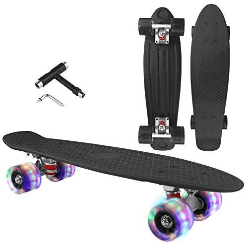 Skateboard Cruiser Complete - 27 inch Skateboards with LED Light Up Wheels with All-in-one T-Tool for Beginners (Black)