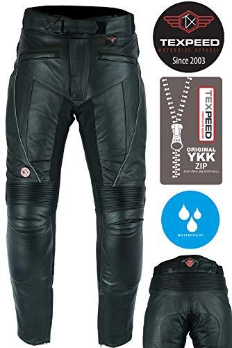 Texpeed Herren Motorradhose aus Leder - mit Protektoren - wasserdicht - Schwarz