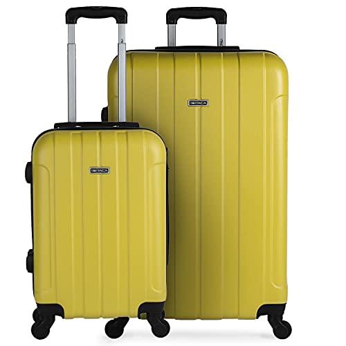 ITACA - Juego de Maletas de Viaje Ligeras 2 Pzs. Set Trolley ABS 4 Ruedas [ (Cabina + Grande) ] Rígidas y Resistentes. Equipaje Avión. Candado con Combinación 771117, Color Amarillo