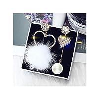 女性の宝石類のギフト、ホワイト用クリスタルラブハート非対称ブラブライヤリング白い毛玉ラインストーンドロップピアス