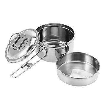 Dilwe Solo Cook Pot Ensemble de Casseroles de Cuisinière en Acier Inoxydable Portable pour Pique-Nique Camping Randonnée