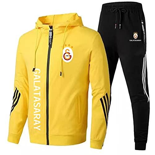 JesUsAvila Herren Trainingsanzug Einstellen Joen Passen Gǎlǎtǎsǎrǎy Mit Kapuze Postleitzahl Jacke + Hose Einstellen/yellow/M
