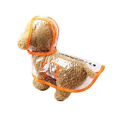Sqiuxia Haustier-Regenmantel, wasserdicht, PVC, transparent, winddicht, Regenkleidung für Hunde, Welpen, Kapuzenjacke, Teddy-Kleidung, Sommer-Haustiermäntel, Modeprodukte (XS, Orange)