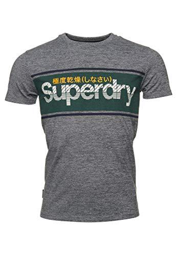 Superdry Core Logo Stripe tee Camiseta, Gris (Academy Grey Twill V9v), M para Hombre