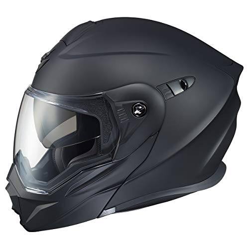 ScorpionEXO Unisex-Adult Modular/Flip Up Adventure Touring Motorcycle Helmet (Matte Black, X-Large) (EXO-AT950 Solid)