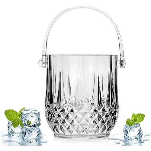 Sdesign Cristal de Hielo Cubo, portátil acrílico Vino de Hielo de contenedores Bar Carro de Bebidas Cubo Enfriador de Vino más Fresco for Partes Reuniones Bar-Clara 1.3L