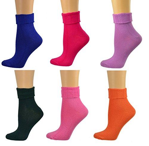 Sierra Socks Women Triple Cuff Crew Cotton Colorful Socks 6 Pair Pack W6011 (Shoe Size: 6-10, Sock Size: 9-11, Green, Pink, Orange, Purple, Violet, Rose)