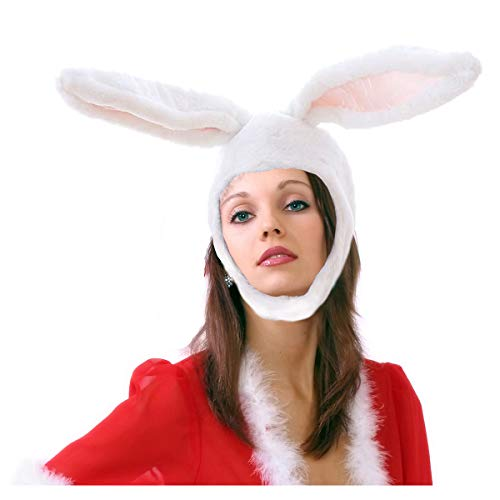 yqtyqs Bunny Ear Hat Rabbit Gift for Adult Party Warm White
