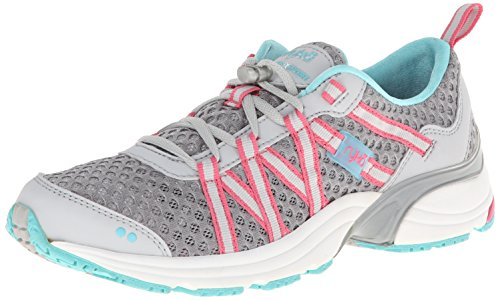 RYKA Women's Hydro Sport Water Shoe Cross Trainer, Silver Cloud/Cool Mist Grey/Winter Blue/Pink 9 M US