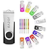 EAZOR 16GB USB 2.0 Flash Drive, USB Stick Thumb Drive Rotated Design Memory Stick for PC/Laptop/External Storage Data Jump Drive Photo Stick Digital for Photos/Videos (16GB-10Colors)