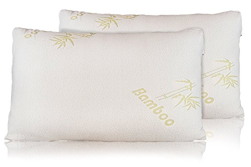 Bamboo Pillow - Firm Shredded Memory Foam Set of 2 - Stay Cool Removable Cover With Zipper - Hotel Quality Hypoallergenic - Relieves Snoring, Insomnia, Neck Pain, TMJ, and Migraines (Kings)