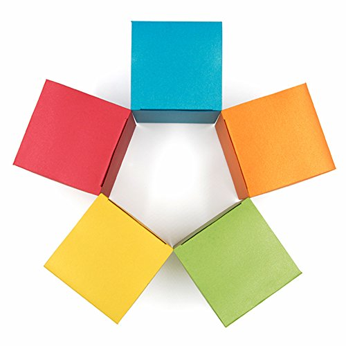 10 Decorative Treat Boxes for Favor Wrapping Gifts 4x4x4 - Vintage European Pearlescent Paper in Assorted Colored (Gold Red Blue Green Orange)