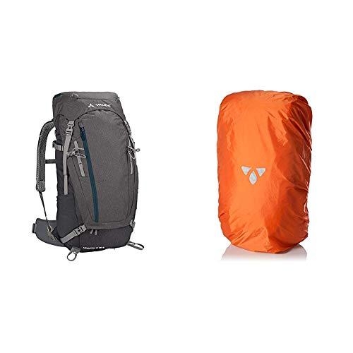 VAUDE Damen Asymmetric 38+8 Rucksack, anthracite, one size &  Unisex Regenhülle für Rucksack, orange, 30-55 L