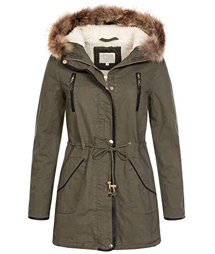 Rock Creek Selection Designer Damen Winterjacke Mantel Parka Teddyfell Echtpelz D-375 [CJ20225 Khaki S]