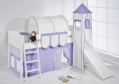 Lilokids Spielbett IDA 4106 Lila Beige-Teilbares Systemhochbett weiß-mit Turm, Rutsche und Vorhang Kinderbett, Holz, 208 x 220 x 185 cm