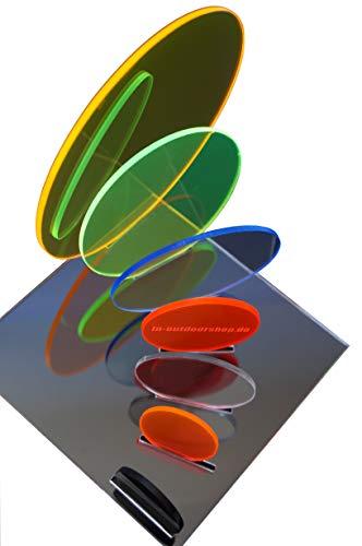 in-outdoorshop Acrylglas, Zuschnitt, Rund, Scheibe, Fluoreszierend, Plexiglas® Platte Rund, verschiedene Größen(Ø 30mm, rot)
