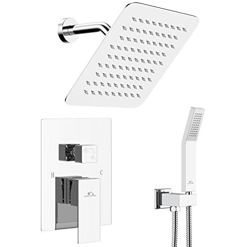 SunCleanse Shower Faucet System with 8 Inches Rain Shower Head, Wall Mounted Shower Combo Set for Bathroom, Polished Chrome (Included Rough-In Valve Body and Trim)