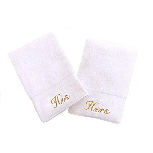 Linum Home Textiles personnalisé Fil Doré brodée Serviette de Toilette, Blanc/doré, Taille Unique