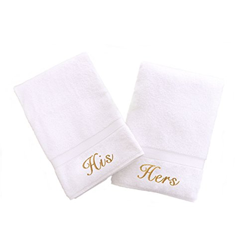 Linum Home Textiles Personalized His and Hers Hand Towel, Set of 2