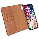 KANVASA iPhone XR Flip Case Ledertasche 2 in 1 Lederhülle Braun Echtleder Cover Leder Tasche für Original Apple iPhone XR / 10R - Kabelloses Laden Qi mit Hülle möglich