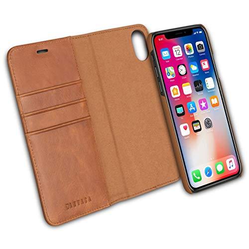 iPhone XS Flip Hülle/iPhone X Ledertasche 2 in 1 Lederhülle Braun - KANVASA Luxus Echtleder Cover Leder Tasche für Original Apple iPhone XS/X/10S/10 - Kabelloses Laden Qi mit Hülle möglich