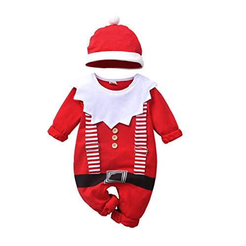 T TALENTBABY - Costume di Carnevale, da bambina, da Babbo Natale, con stampa di elfo, con tutina e cappello a strisce rosso/bianco 80 cm(3-6 mesi)
