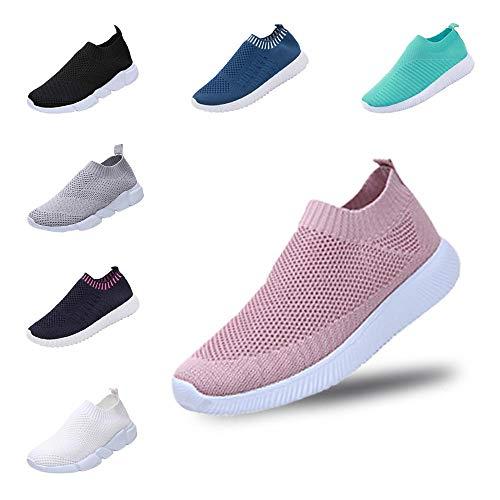 YWLINK Damen Schuhe Outdoor Schuhe Freizeit Slip On Bequeme Sohlen Sports Atmungsaktiv Mesh Schuhe (35 EU, A Rosa)
